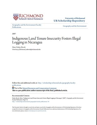 Indigenous land tenure insecurity fosters illegal logging in Nicaragua