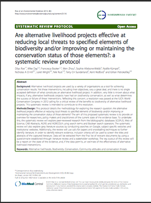 Are alternative livelihood projects effective at reducing local threats to specified elements of biodiversity and/or improving or maintaining the conservation status of those elements?: a systematic review protocol