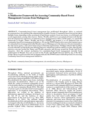 A Multi-sector Framework for Assessing Community-Based Forest Management: Lessons from Madagascar