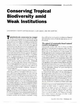 Conserving Tropical Biodiversity amid Weak Institutions