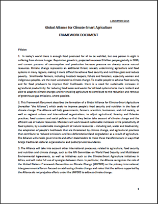 Global Alliance for Climate-Smart Agriculture: FRAMEWORK DOCUMENT (1 September 2014)