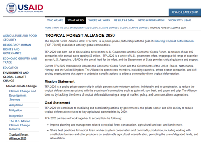 USAID Tropical Forest Alliance 2020