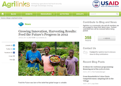 Growing Innovation, Harvesting Results: Feed the Future's Progress in 2012