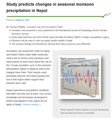 Study Predicts Changes in Seasonal Monsoon Precipitation in Nepal