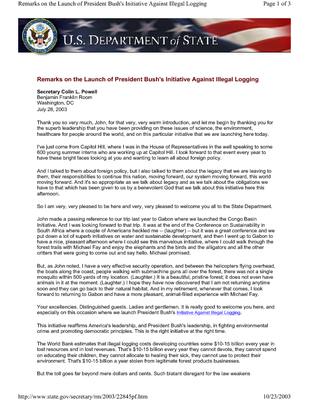 Remarks on the Launch of President Bush's Initiative Against Illegal Logging