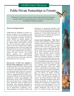 Briefing Paper - Public-Private Partnerships in Forestry