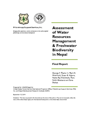 Assessment of Water Resources Management & Freshwater Biodiversity in Nepal