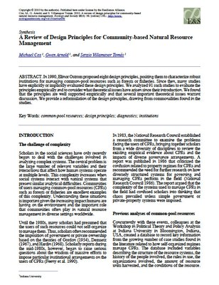 A Review of Design Principles for Community-based Natural Resource Management