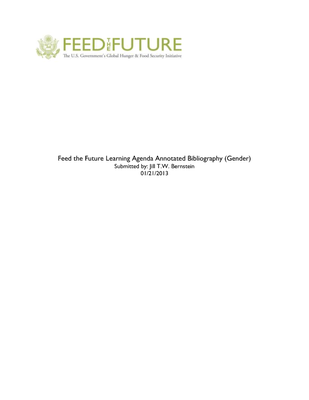 Feed the Future Learning Agenda Annotated Bibliography (Gender)