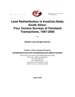 Land redistribution in KwaZulu-Natal, South Africa: Four census surveys of farmland transactions, 1997-2000