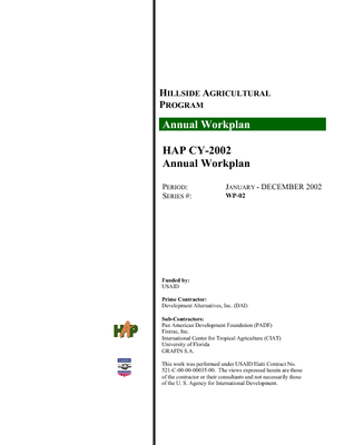 Hillside Agricultural Program annual workplan series #WP-02