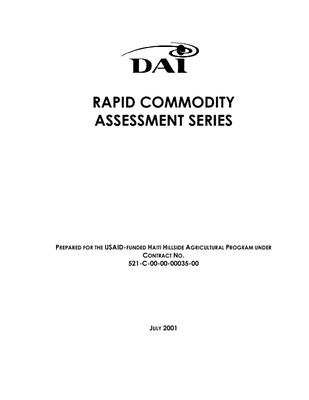Rapid commodity assessment series, prepared for the U.S. Agency for International Development/Haiti (USAID/Haiti)