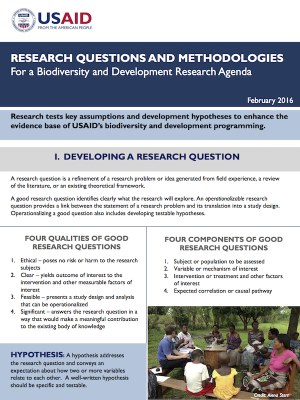 Research Questions and Methodologies for a Biodiversity and Development Research Agenda PDF