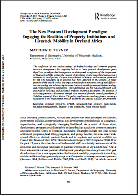 The New Pastoral Development Paradigm: Engaging the Realities of Property Institutions and Livestock Mobility in Dryland Africa