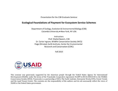 Presentation - Ecological Foundations of Payments for Ecosystem Services