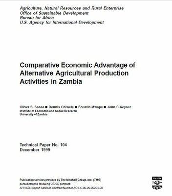Comparative Economic Advantage of Alternative Agricultural Production Activities in Zambia