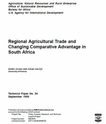 Regional Agricultural Trade and Changing Comparative Advantage in South Africa
