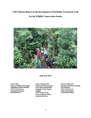 USFS Mission Report on the Development of MaMaBay Ecotourism Trail for the Wildlife Conservation Society