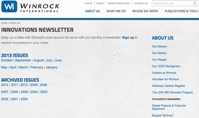 Winrock International - Inovations Newsletter