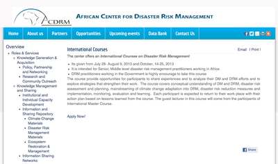 International courses on disaster risk management