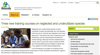 Three New Training Courses on Neglected and Underutilized Species