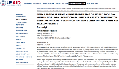 Africa Regional Media Hub Press Briefing on World Food Day With USAID Bureau For Food Security Assistant Administrator Beth Dunford and USAID Food For Peace Director Matt Nims Via Teleconference
