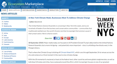 At New York Climate Week, Businesses Meet To Address Climate Change