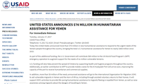United States Announces $76 Million in Humanitarian Assistance for Yemen