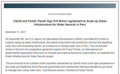 USAID and Forest Trends Sign $15 Million Agreement to Scale Up Green Infrastructure for Water Security in Peru