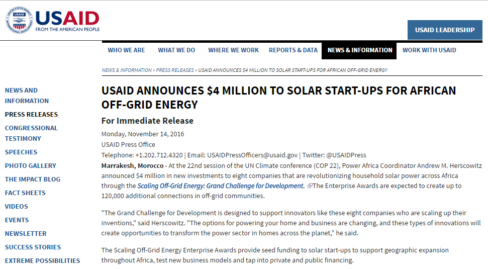 USAID Announces $4 Million to Solar Start-Ups for African Off-Grid Energy