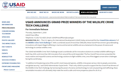 USAID Announces Grand Prize Winners of the Wildlife Crime Tech Challenge